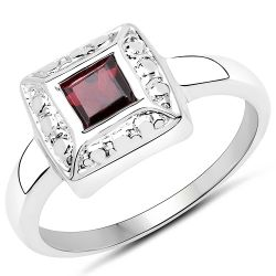 0.80 Carat Genuine Garnet .925 Sterling Silver Ring