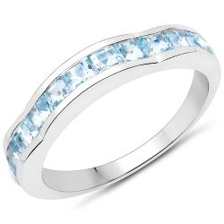 2.09 Carat Genuine Blue Topaz .925 Sterling Silver Ring