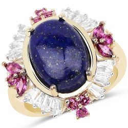 14K Yellow Gold Plated 6.72 Carat Genuine Lapis, Rhodolite & White Topaz .925 Sterling Silver Ring