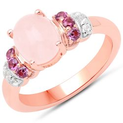 14K Rose Gold Plated 2.27 Carat Genuine Morganite, Rhodolite and White Topaz .925 Sterling Silver Ring