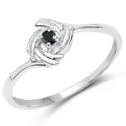0.04 Carat Genuine Black Diamond .925 Sterling Silver Ring