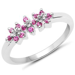 0.42 Carat Genuine Ruby .925 Sterling Silver Ring