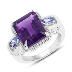 5.15 Carat Genuine Amethyst and Tanzanite .925 Sterling Silver Ring Ring