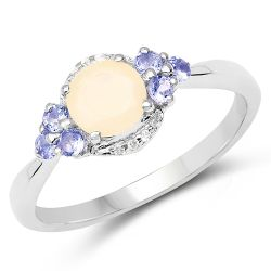 """0.74 Carat Genuine Ethiopian Opal, Tanzanite & White Topaz .925 Sterling Silver Ring"""