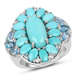 """8.11 Carat Genuine Turquoise, Swiss Blue Topaz & White Topaz .925 Sterling Silver Ring"""