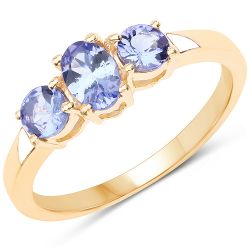18K Yellow Gold Plated 0.90 Carat Genuine Tanzanite .925 Sterling Silver Ring