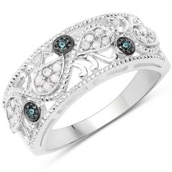 0.21 Carat Genuine Blue Diamond & White Diamond .925 Sterling Silver Ring