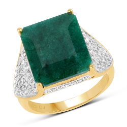 14K Yellow Gold Plated 8.73 Carat Dyed Emerald & White Topaz .925 Sterling Silver Ring