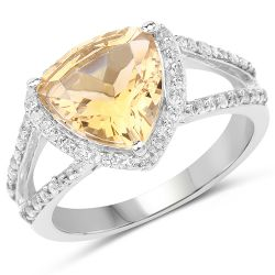 3.06 Carat Genuine Citrine and White Topaz .925 Streling Silver Ring