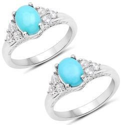 1.92 Carat Genuine Turquoise and White Zircon .925 Sterling Silver Ring