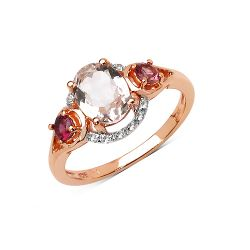14K Rose Gold Plated 1.40 Carat Genuine Morganite, Pink Tourmaline & White Topaz .925 Sterling Silver Ring