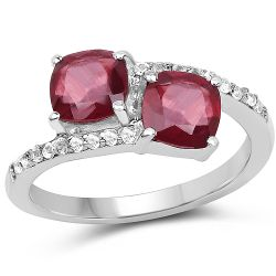 2.38 Carat Glass Filled Ruby and White Topaz .925 Sterling Silver Ring