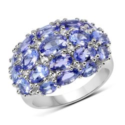 5.29 Carat Genuine Tanzanite & White Topaz .925 Sterling Silver Ring