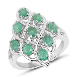 1.37 Carat Genuine Zambian Emerald And White Topaz .925 Sterling Silver Ring