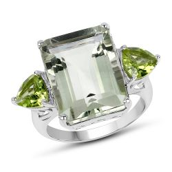 11.90 Carat Genuine Green Amethyst and Peridot .925 Sterling Silver Ring
