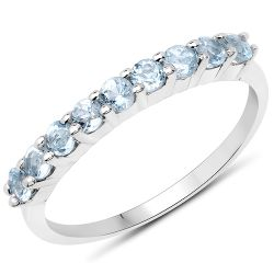 0.68 Carat Genuine Blue Topaz .925 Sterling Silver Ring