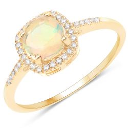 0.60 Carat Genuine Ethiopian Opal and White Diamond 14K Yellow Gold Ring