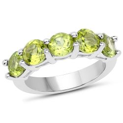 3.25 Carat Genuine Peridot .925 Sterling Silver Ring