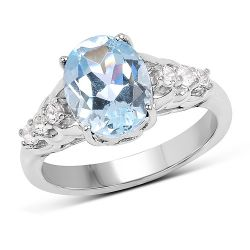 2.79 Carat Genuine  Blue Topaz and White Topaz .925 Sterling Silver Ring