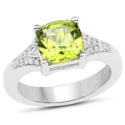 2.27 Carat Genuine Peridot and White Zircon .925 Sterling Silver Ring