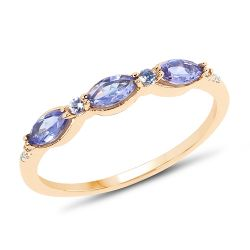 0.48 Carat Genuine Tanzanite and White Diamond 14K Yellow Gold Ring