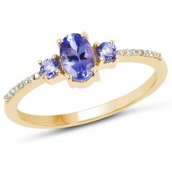 0.63 Carat Genuine Tanzanite and White Diamond 14K Yellow Gold Ring