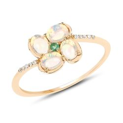 0.54 Carat Genuine Ethiopian Opal, Zambian Emerald and White Diamond 14K Yellow Gold Ring