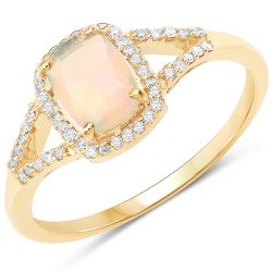0.64 Carat Genuine Ethiopian Opal and White Diamond 14K Yellow Gold Ring