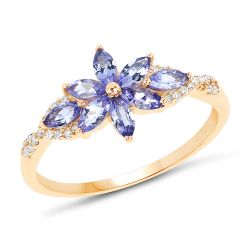 0.72 Carat Genuine Tanzanite and White Diamond 14K Yellow Gold Ring