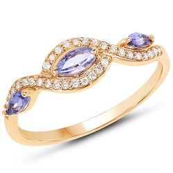 0.40 Carat Genuine Tanzanite and White Diamond 14K Yellow Gold Ring