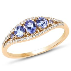 0.56 Carat Genuine Tanzanite and White Diamond 14K Yellow Gold Ring