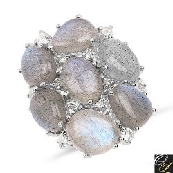 10.44 Carat Genuine Labradorite And White Topaz .925 Sterling Silver Ring