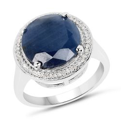 7.05 Carat Genuine Sapphire and White Diamond .925 Sterling Silver Ring