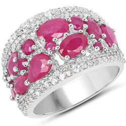 3.89 Carat Genuine Ruby and White Zircon .925 Streling Silver Ring