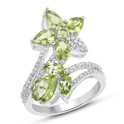 3.35 Carat Genuine Peridot and White Topaz .925 Sterling Silver Ring