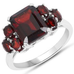 5.10 Carat Genuine Garnet .925 Sterling Silver Ring