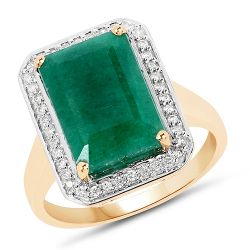 5.71 Carat Dyed Emerald and White Diamond 14K Yellow Gold Ring