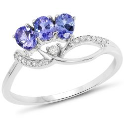 0.57 Carat Genuine Tanzanite and White Diamond 14K White Gold Ring