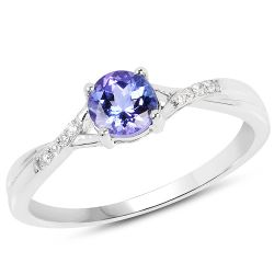 0.51 Carat Genuine Tanzanite and White Diamond 14K White Gold Ring