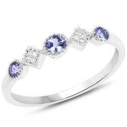 0.26 Carat Genuine Tanzanite and White Diamond 14K White Gold Ring