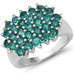 1.74 Carat Genuine Emerald .925 Sterling Silver Ring