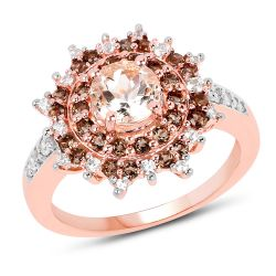 18K Rose Gold Plated 1.65 Carat Genuine Morganite, Smoky Quartz and White Zircon .925 Sterling Silver Ring