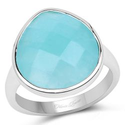 5.28 Carat Genuine Amazonite .925 Sterling Silver Ring