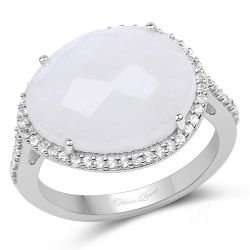 7.33 Carat Genuine White Rainbow Moonstone And White Topaz .925 Sterling Silver Ring