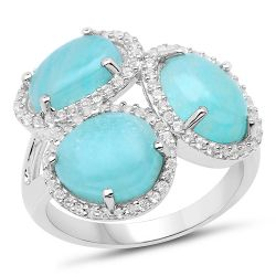 5.30 Carat Genuine Amazonite And White Topaz .925 Sterling Silver Ring
