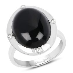 6.80 Carat Genuine Black Onyx And White Topaz .925 Sterling Silver Ring