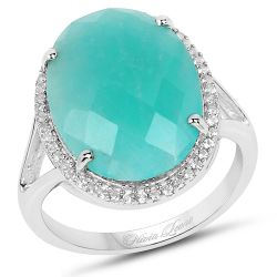 8.14 Carat Genuine Amazonite And White Topaz .925 Sterling Silver Ring