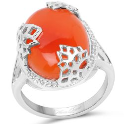 10.74 Carat Genuine Carnelian And White Topaz .925 Sterling Silver Ring