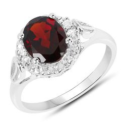 2.59 Carat Genuine Garnet and White Topaz .925 Sterling Silver Ring