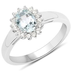 0.89 Carat Genuine Aquamarine and White Zircon .925 Sterling Silver Ring